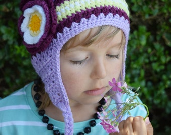 Handmade Crochet hat for girls, Flower hat, Purple Hat