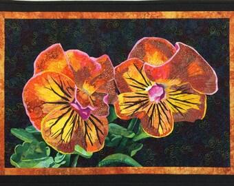 Orange Pansies Art Quilt Pattern by Lenore Crawford
