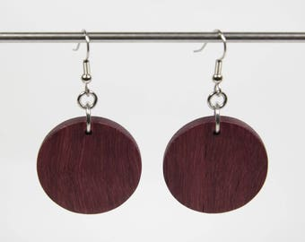 Purpleheart Earrings, Wooden Drop Earrings, Round Wooden Earrings, Wood Earrings, Wood Dangle Earrings, Purple Earrings, African Earrings