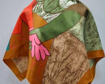 Vintage PRINTED scarf ...(720)