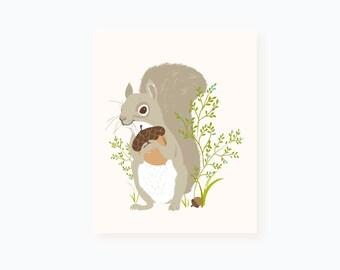 squirrel wall art - woodland nursery decor for kids