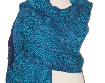 Stola, 100% Alpaca Wool Stola or Shawl, Handwoven , colours blue and turqouise