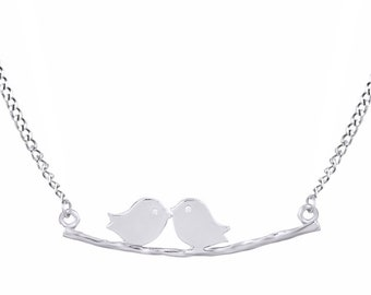 Engagement Love Birds on Branch Pendant Necklace 14k Gold Over Sterling Silver