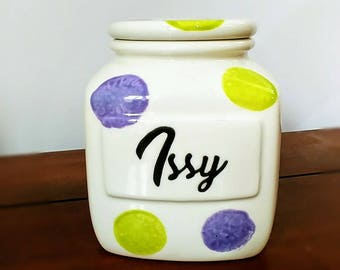 Personalised Sweet Biscuit Cookie Barrel Jar Canister Custon Name Custom Colour Hand Painted