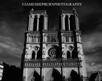 Notre Dame Black and White Photo