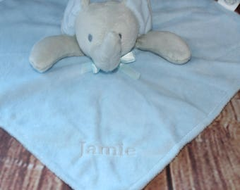 Personalised Baby Elephant Comforter, Blankies, snuggle blanket Pink or Blue colours available, for boy, girl, newborn gift