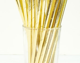 25 Shiny Gold Foil Paper Straws- Make your next party shine- Also great for weddings, bridal showers, birthday parties, and more!