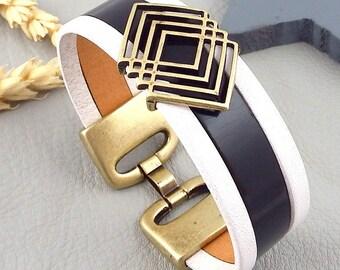 Black and white leather bracelet tutorial Kit from geometric bronze
