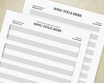 Music Staff Bar Charts Printable PDF, Manuscript Paper, Staves, Sheet Music - Editable Custom Templates, Digital File - INSTANT DOWNLOAD