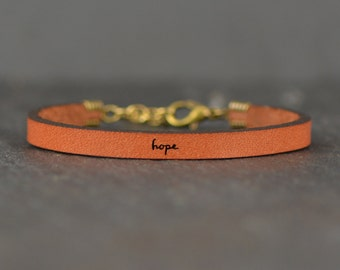 meaningful gift | hope jewelry | hope bracelet | leather bracelet | gift for her | encouraging jewelry | inspirational | laurel denise