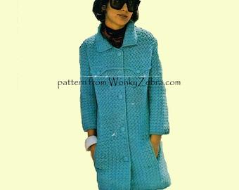 Vintage Crochet Pattern Mod Coat PDF 818 from WonkyZebra