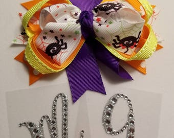 Sale!!!!!  Baby Toddler Halloween Bows Spider & Polka Dots Fall Accent Photo Prop