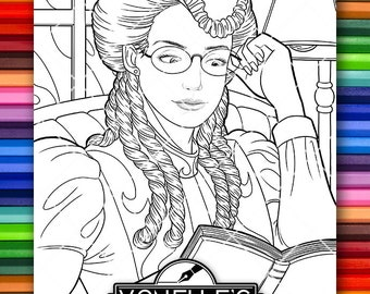 Adult Coloring Page Victorian Era Beautiful Lady Reading Book Library Instant Download PDF Illustration Digital Stamp Fashion