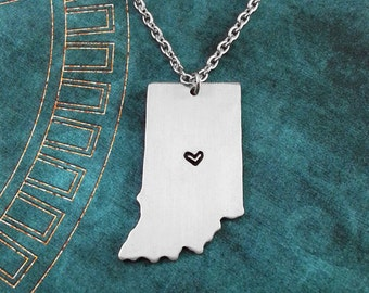 Indiana Necklace, Personalized Jewelry, Hand Stamped Necklace, Long Distance Relationship, State Necklace, Map Necklace, Heart State Jewelry
