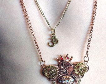 Steampunk Necklace Mechanical Bee and Tibetan Om Layered Necklace Set