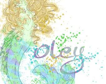 Watercolor Splatter Mermaid - Personalized