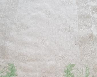 "Vintage ivory satin damask tray cloth mat thistle Scotland 55cm x 36cm 21"" x 14"""