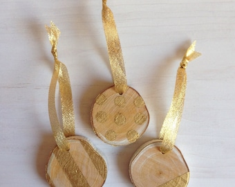 Set of 3 Gold-Painted Mini Birch Ornaments | Painted Log Slice Ornaments