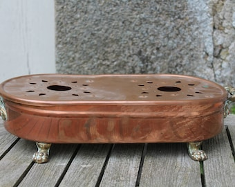 French Vintage Copper Oval Plate Warmer, Réchaud de table, Food warmer