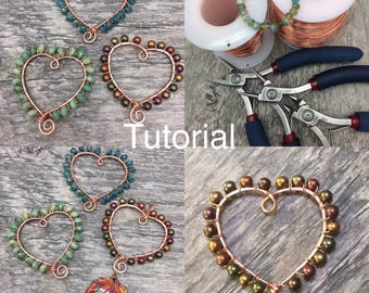 Wire Wrap Heart Pendant Tutorial Digital Instructions, Instant Download,DIY, Wire Wrap Beaded Heart Pendant, Wire Weave Tutorial