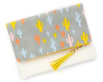 Boho Tassel Clutch in Modern Saguaro Cactus Print and Tan Vegan Leather and Gold zipper close