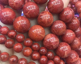 8mm and 16mm Natural Red Sponge Coral Round Beads, Multicolored Beads, Full Strand