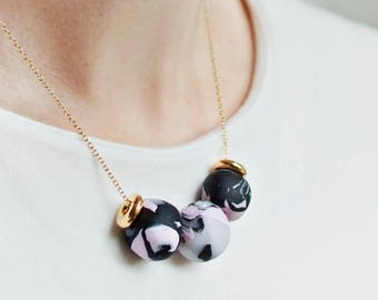 Gold Necklace with 3 Multi Coloured Beads, Handmade Beads Necklace, Gold, Minimal Black & Pink Beaded Chain, Marbled effect, Statement Piece