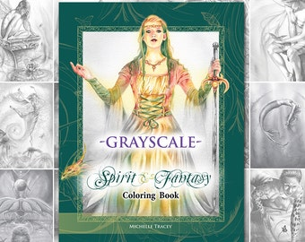 Spirit & Fantasy Grayscale Coloring Book - Fairy, Angels, Dragons, Mermaids, Butterfly, Greyscale Pages, Colouring Books for Adults, pdf,