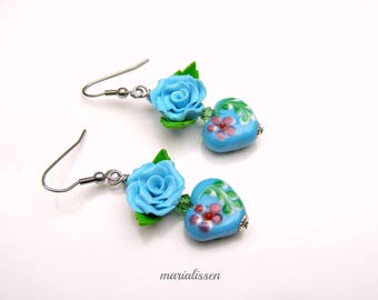 Valentine hearts Lampwork earrings flower-hand made polymer clay Roses