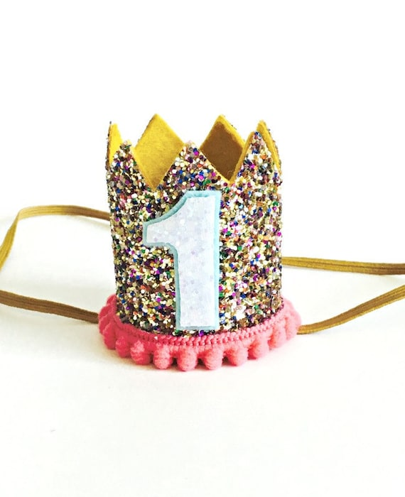 Dog Crown Gold Glitter Pink Animal Party Birthday Party Photo Prop