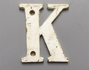 Vintage Letter K, Decorative Letter, Brass Display Letter, Shabby Chic Letter, Industrial Letter A with Chippy Paint