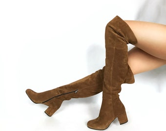 Edza LIV Taube Suede Leather over the knee boots, thigh high boots, 39 40 41 42 8 9 10 11