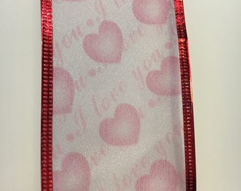 "Valentine ribbon sheer with ponk hearts and ""I Love You"" printed on it"