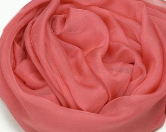 Tomato Silk Chiffon Scarf - Indian Red Silk Scarf - AS230