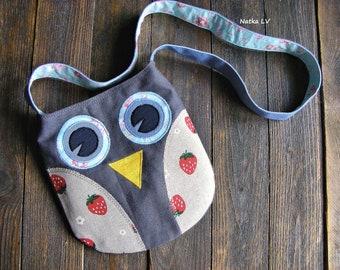 Owl bag, girl's owl bag, kids summer bag, toddler fabric bag, children's cross body bag, 3 - 6 years girl shoulder bag, handmade, grey blue