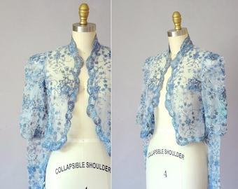 Rowallane lace jacket   vintage lace shrug   70s lace bolero