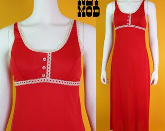Cute Vintage 70s Slinky Red Nylon Mod Long Nightgown