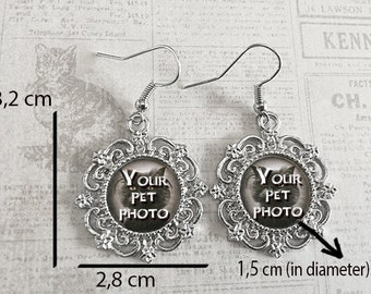 Pet Photo Custom Earrings, YOUR PET'S Photo Custom Personalized Earrings, Custom photo silver earrings with your pet
