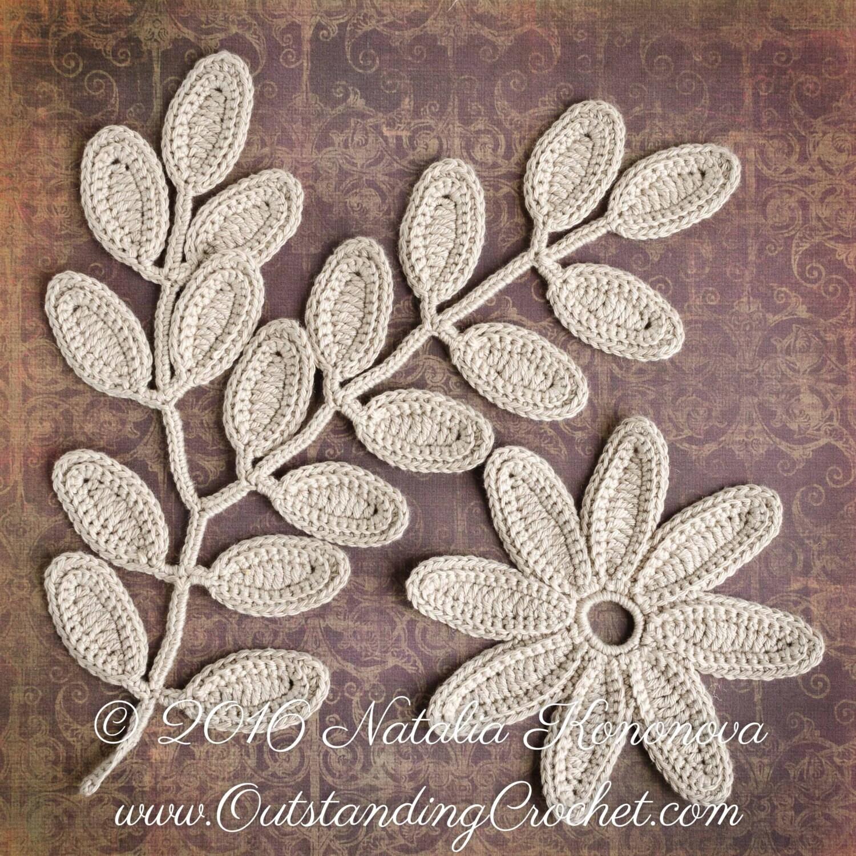 Irish Crochet Applique PATTERN - Fantasy Flower Leaf - Lace Motifs ...
