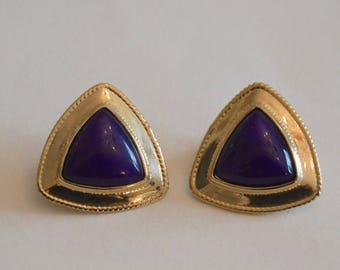 Classic 1980's purple and gold triangle clip earrings