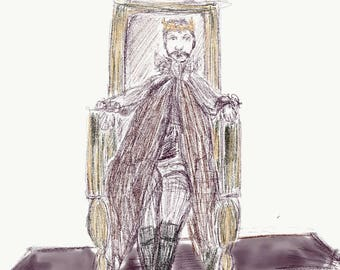 "King Without a Kingdom, Art Print 9x12"" Digital Artwork"