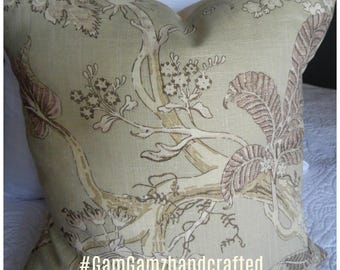 Floral.Sage Green.Purple.Taupe.Cream,Ecru.Pillow Cover.Slipcover.Toss Pillow.