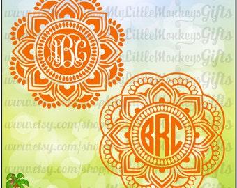 Mandala SVG Monogram Base Design, 2 Color, 3 Color SVGs Cut File & Digital Clipart Instant Download Full Color Jpeg, Png, SVG, DXF Eps Files