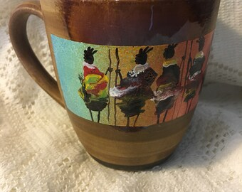 Hand painted coffee mug - striated with warriors - CM5-24