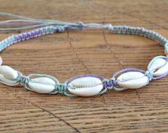 Hemp Necklace with Cowrie Shells Multicolored Pastel Purple Light Blue Colors