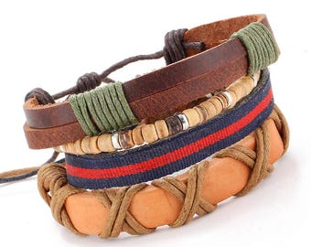 Unisex Vintage Handmade Leather Bracelet with Charms (Set of 4 PCS)