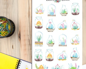 Watercolour Succulents Cactus Terrarium Plants Planner Stickers (S-128)