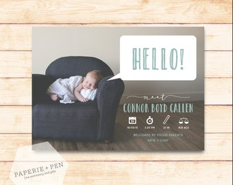 HELLO! Talk Bubble Baby Announcement, 2-3 Day Turnaround!