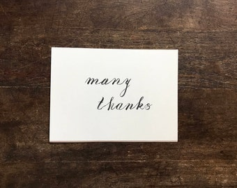 Many Thanks Card, Thanks, Merci, Thank You, You Shouldn't Have, Classic Writing, Fun Lettering