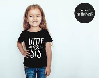 Little sister shirt, Little sis shirt, baby shirt, black and white, shortsleeved baby shirt, photoshoot shirts, sibling shirt